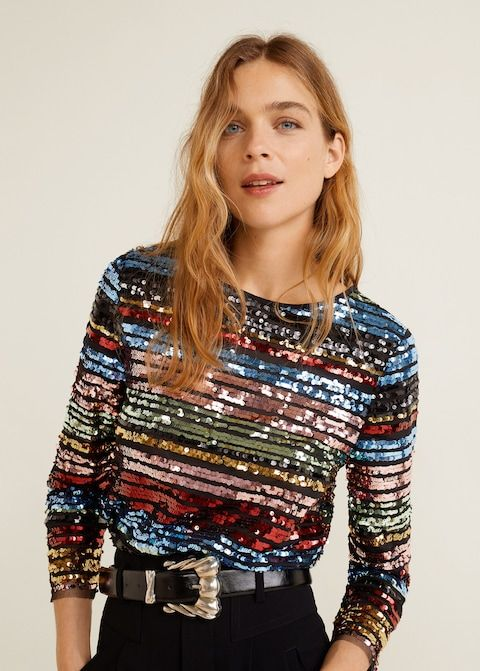 Top rayures multicolores sequins - Femme _ Mango France