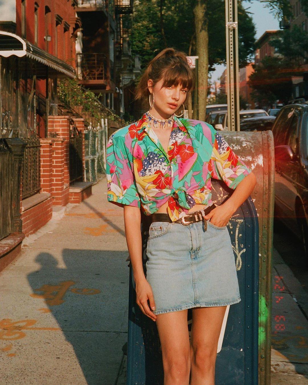 La chemise imprimée multicolore